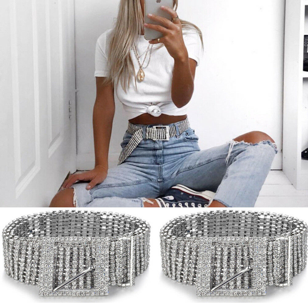 Fashion Luxury Ten Row Bright Full Rhinestone Inlaid Women's Belt Female Bride Wide Bling Crystal Diamond Waist Chain Belt