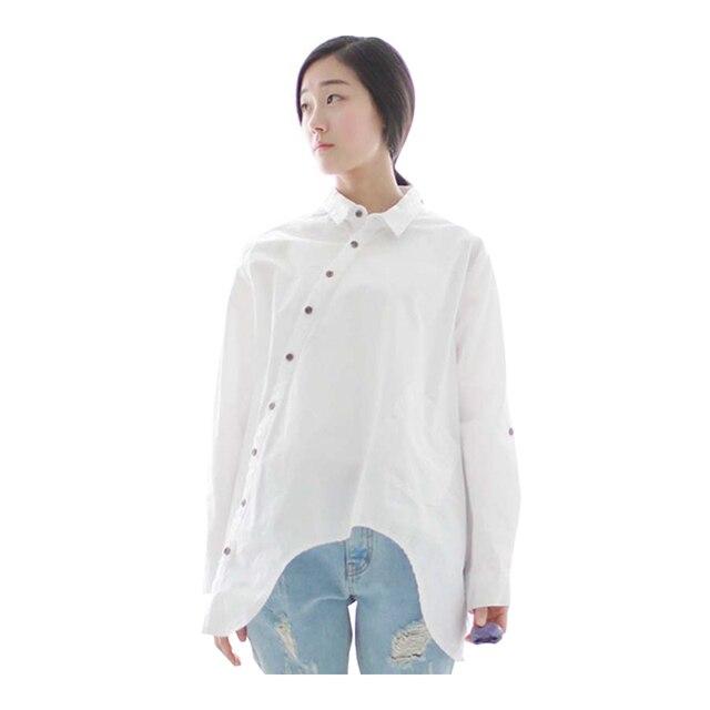 Johnature 2019 Autumn New Women Shirt Cotton Linen Button White Blue Floral Turn-down Collar Irregular Loose Blouse