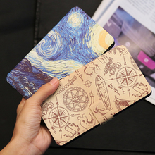 QIJUN Painted Flip Wallet Case For Xiaomi Redmi Note 1 1s 2 3 4 4X 5 Pro 5A Prime Phone Cover College Protective Shell DIY
