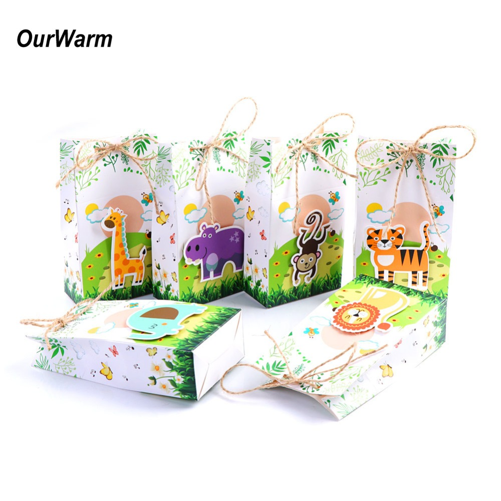 OurWarm 12pcs Safari Animals Favor Box Gift Bags Jungle Birthday Themed Party Decoration Event Party Supplies