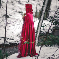 Red Wedding Wrap Riding Hood stretch Velvet Cape Costume Cape Fairytale Fantasy Cloak in Red Medieval DJ097