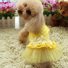 Dog Cat Dot Tutu Dress Flower Lace Dress Pet Clothes Puppy Party Apparel Costume Large