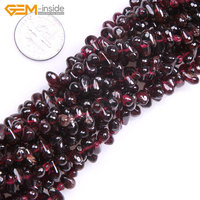 Gem Inside Natural Top Drilled Drop Shape Natural Garnet Beads For Jewelry Making 4x7mm 15inches DIY