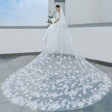 Romantic White Ivory Cathedral Wedding Veils Long Lace Edge Flowers Bridal Veil Wedding Accessories Bride Mantilla Wedding Veil