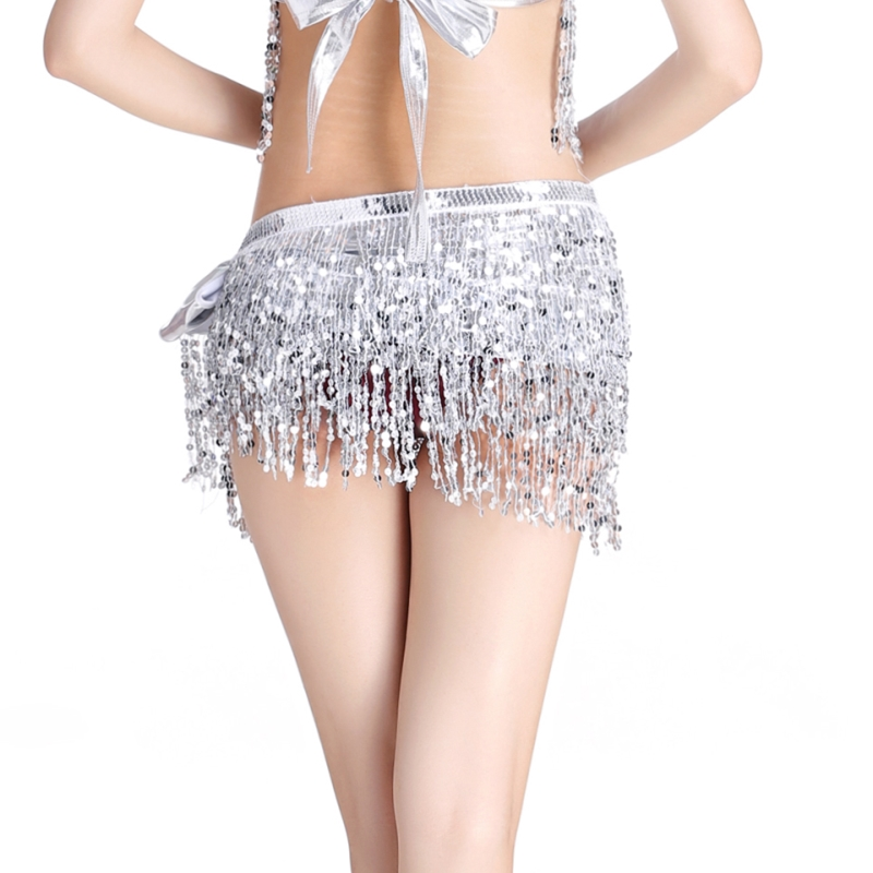 Belly Dance Hip Skirt Scarf Women Sequin Tassel Wrap Belt Festival Costumes