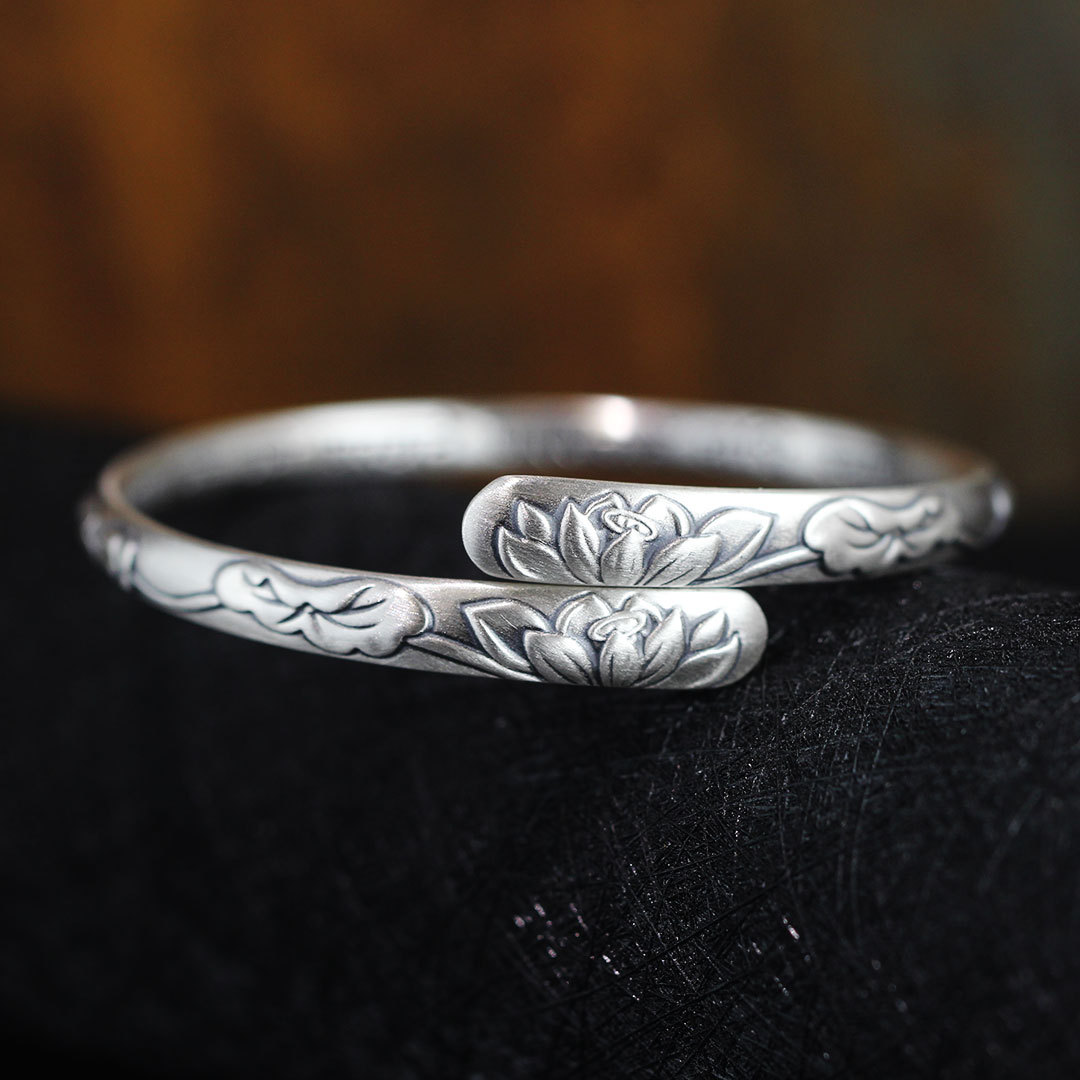 2018 Promotion Special Offer Bangle Fashion Product S999 Sterling Jewelry Wholesale Fashion Lady Lotus Leaf Fine