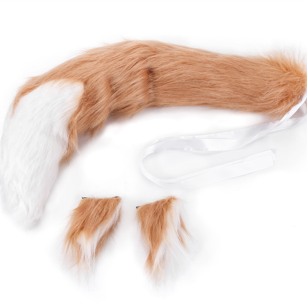 Anime Spice And Wolf Holo Fox Ears Tail Long Plush Cosplay Costumes Prop