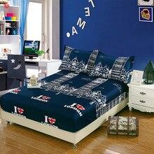 Cubierta de la cama sábana ajustable verano elástico colchón cubre fundas de colchón ropa de cama colcha hoja de cama de estilo Británico 3 unids/set