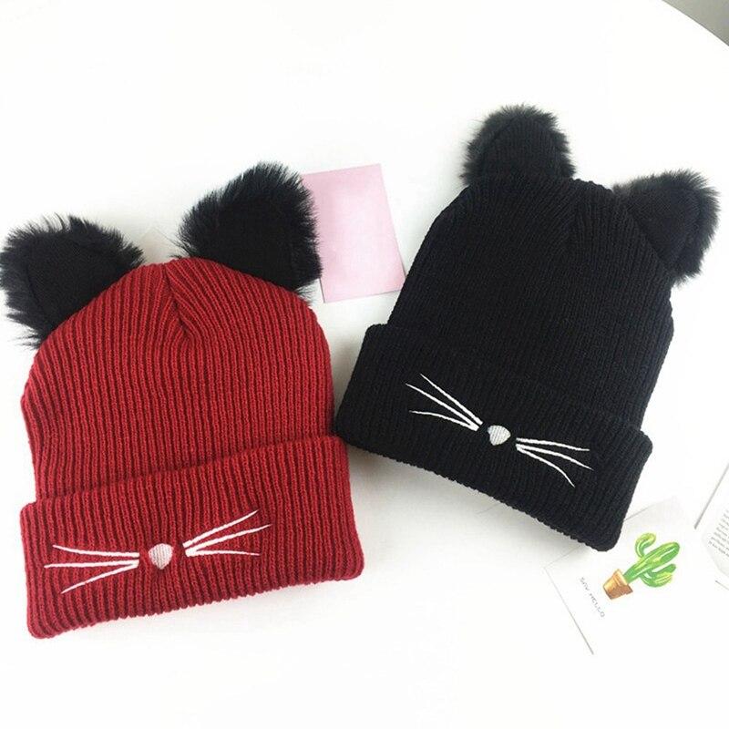2018 New Design Cute Female Hat Hot Sale Cat Ears Women Hat Knitted Acrylic Warm Winter Beanie Caps Crochet Fur Hats