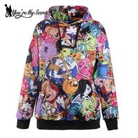 Fashion Adventure Time Autumn Winter Women Hoodied Sweatshirt Digital Printing Sportswear Casual Long Sleeve Hoodies WYC1013