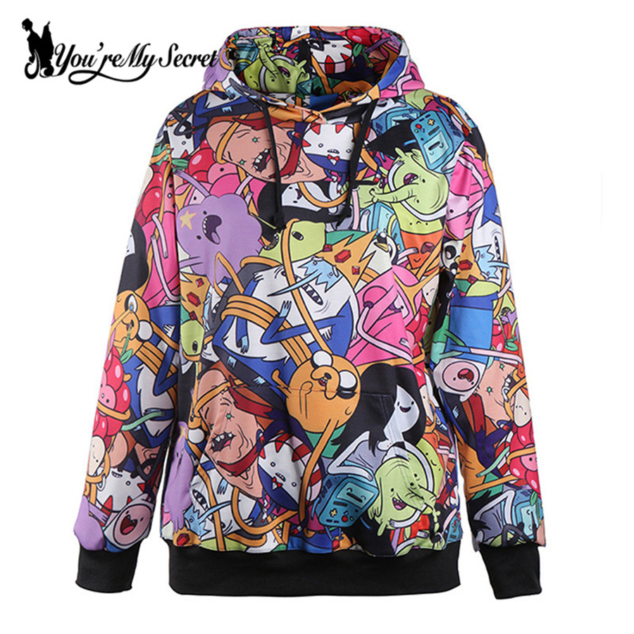 [You're My Secret] Adventure Time Autumn Winter Women Hoodied Sweatshirt Digital Printing Sportswear Casual Long-Sleeve Hoodies