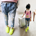 2017 new children's jeans girls pants colorful spring hole denim shorts casual wholesale children size 90-130