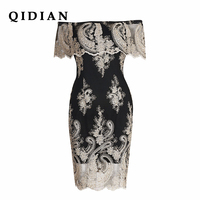 QI DIAN 2018 New Shoulder Lace Dress Vintage Women Summer Rockabilly Party Dresses Female Clothes Backless