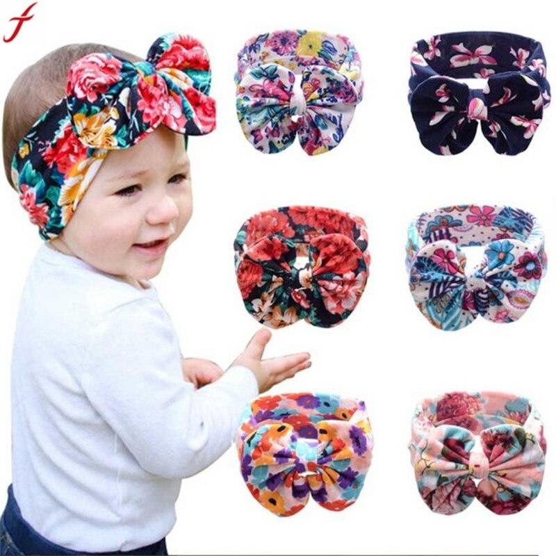 2018 Kind Für Jungen Mädchen Elastische Bowknot Haarband Böhmen Kopfschmuck Bowknot Headwear Blume Hut üBerlegene Materialien