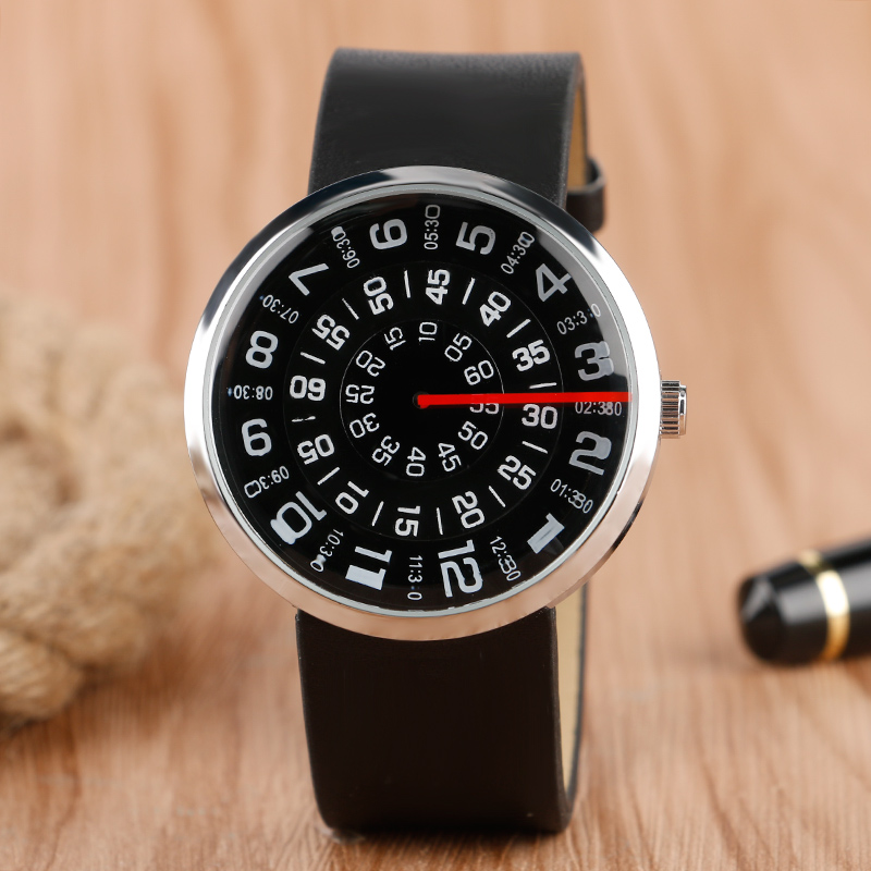 High Quality Fashion Black Men Wristwatch White Number Turntable Dial Leather Band Casual Male Watch Best Gift reloj de pulsera