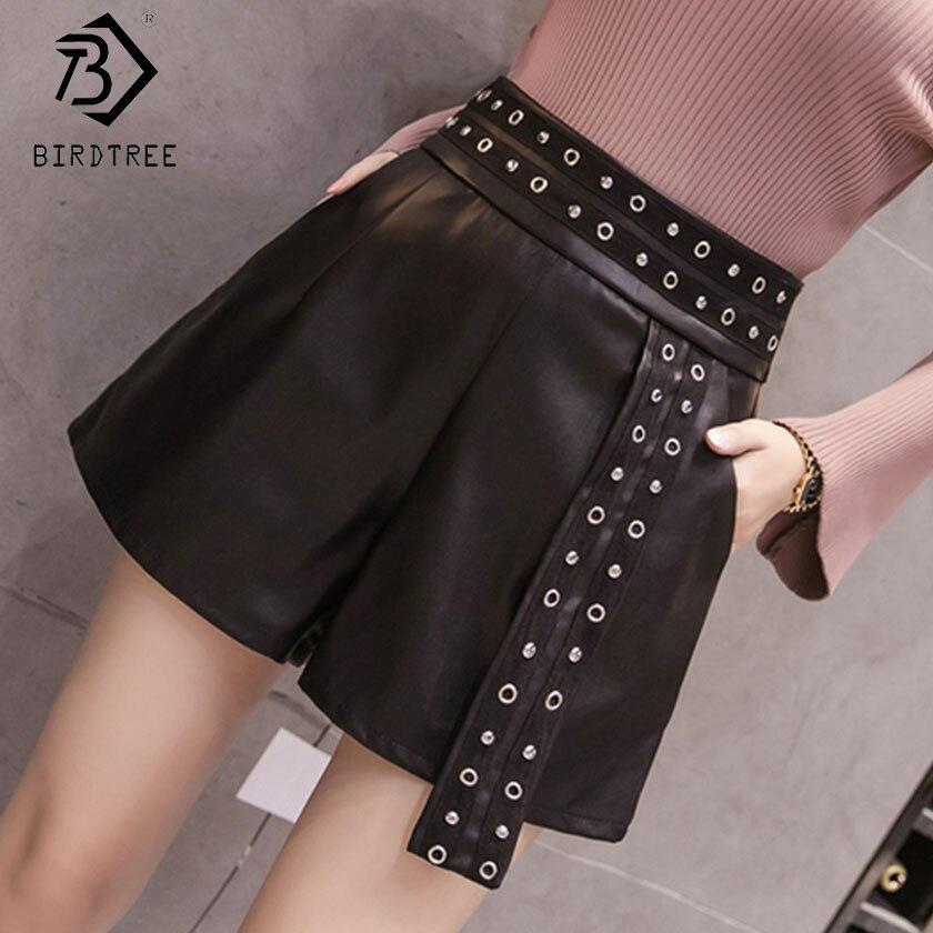 2019 Women's Black   Shorts   High Waist Pockets Rivets Patchwork Zipper Fly Loose Bottom Summer New Fashion Hots Sales B8D710J
