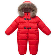 -20 deg. Winter Baby Romper onesie Coat Infant Children Snowsuit Outerwear Newborn Girl Boy Jumpsuit Snow Wear Overalls Fur Hood