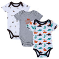BABY BODYSUITS 3PCS 100% Algodão Corpo Infantil Short Sleeve Vestuário Similar Jumpsuit Impresso Baby Boy Corpo Bodysuits Cor Random