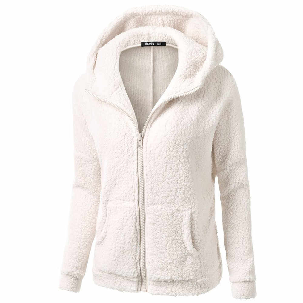 여성 겨울 가을 후드 후드 코트 겨울 따뜻한 양모 지퍼 코튼 까마귀 아웃웨어 솔리드 캐주얼 운동복 여성 플러스 # v