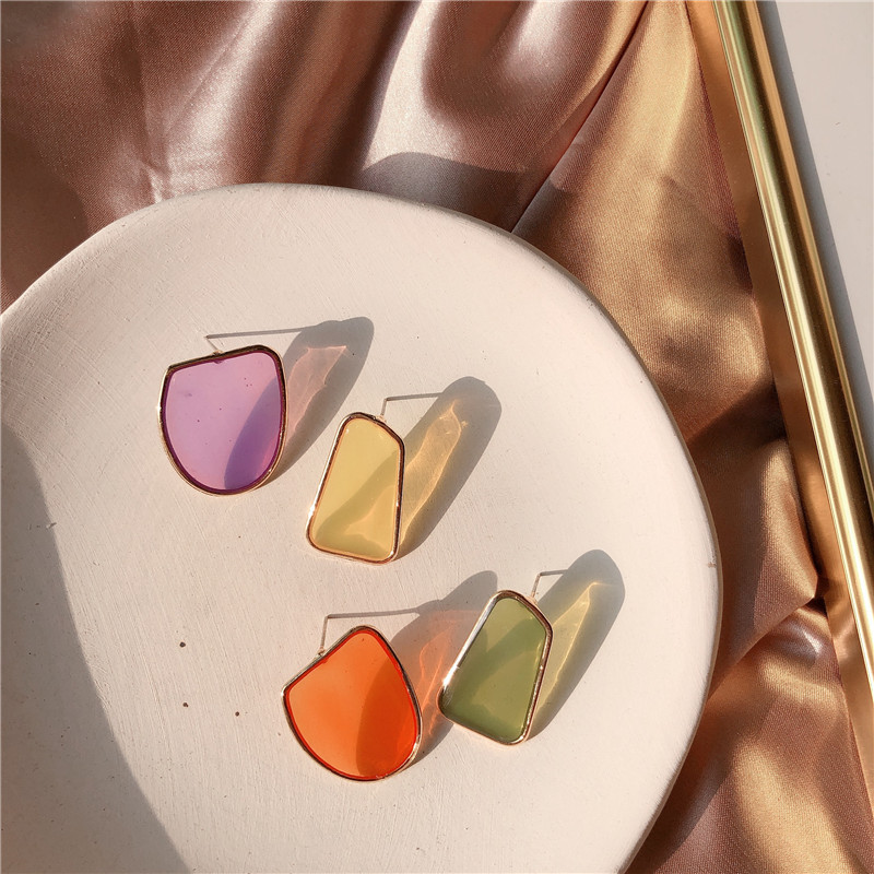 Colorful Acrylic Earrings For Women 2019 New Irregular Geometric AB Earrings Trendy Jewelry