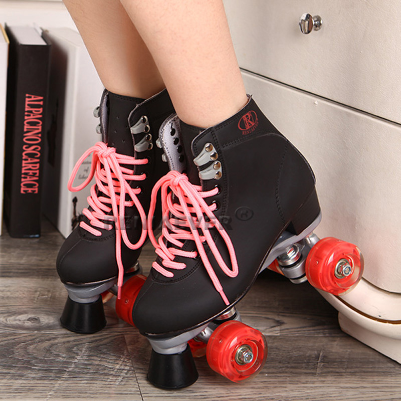 Black Roller Skates With Red Led Lighting Wheels Double Line Skates Male Adult F1 Racing 4 Wheels Two line Roller Skating Shoes reniaever double roller skates skating shoe gift girls black wheels roller shoe figure skates white free shipping