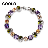 Mona Lisa Trendy Style Luxury Exquisite White Gold Plated Special Colorful Crystal Rhinestone Bracelets Free Shipping