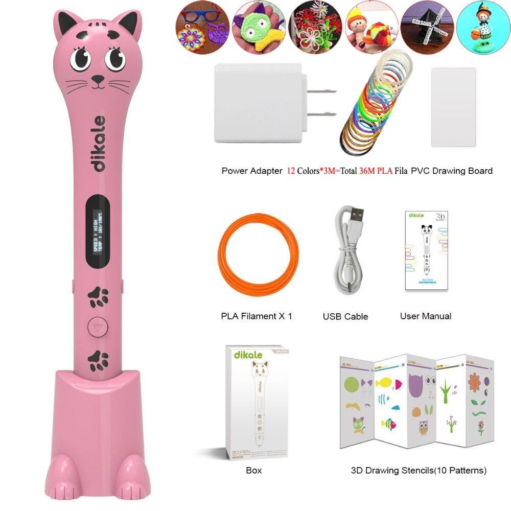 Dikale 3D dessin stylo Impresora Imprimante mignon chat conception USB OLED 3D impression stylo Imprimante crayon gratuit Filament sécurité bricolage cadeau