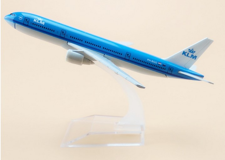 16cm Alloy Metal Air KLM B777 Airlines Boeing 777 Airways Plane Model Aircraft Airplane Model w Stand Gift image