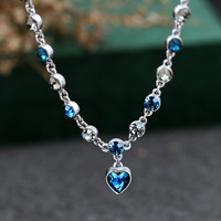 Kadın Kolye Kolye Kalp Şekli Kristal Kraliyet Mavi Kolye Katı 925 Gümüş Zincir Romantik Takı Kolye Hediye