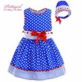 Pettigirl Новый Синий Полька Dot Baby Girl Dress Hand Made Кружева С Красным Бантом Повязка Малышей Бутик Детской Одежды G-DMGD905-772
