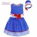 Pettigirl novo azul polka dot baby girl dress lace hand made com red bow headband criança roupas para crianças boutique g-dmgd905-772