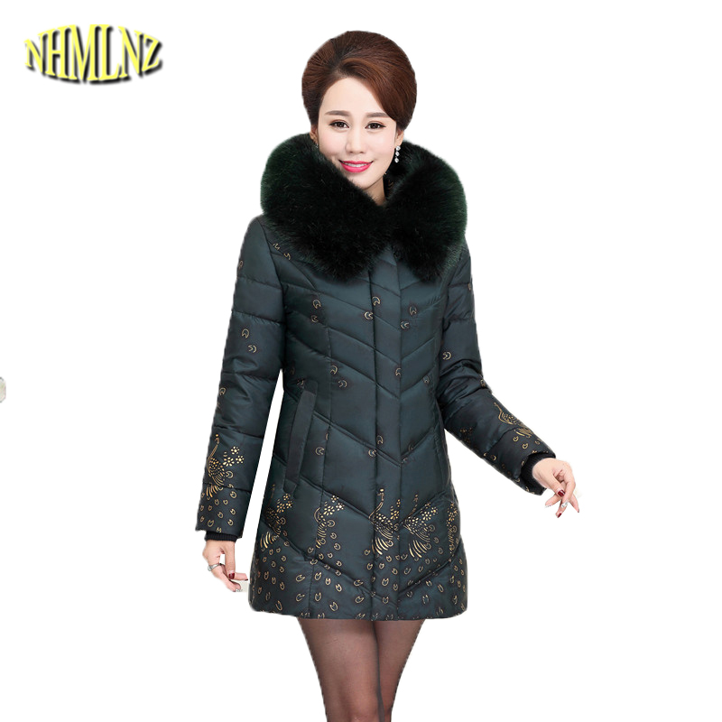 Large size 5XL Middle-aged Women's Cotton Jacket 2019 Print Loose Parkas Artificial Fur Collar Warm Coats Female Outwear DAN236