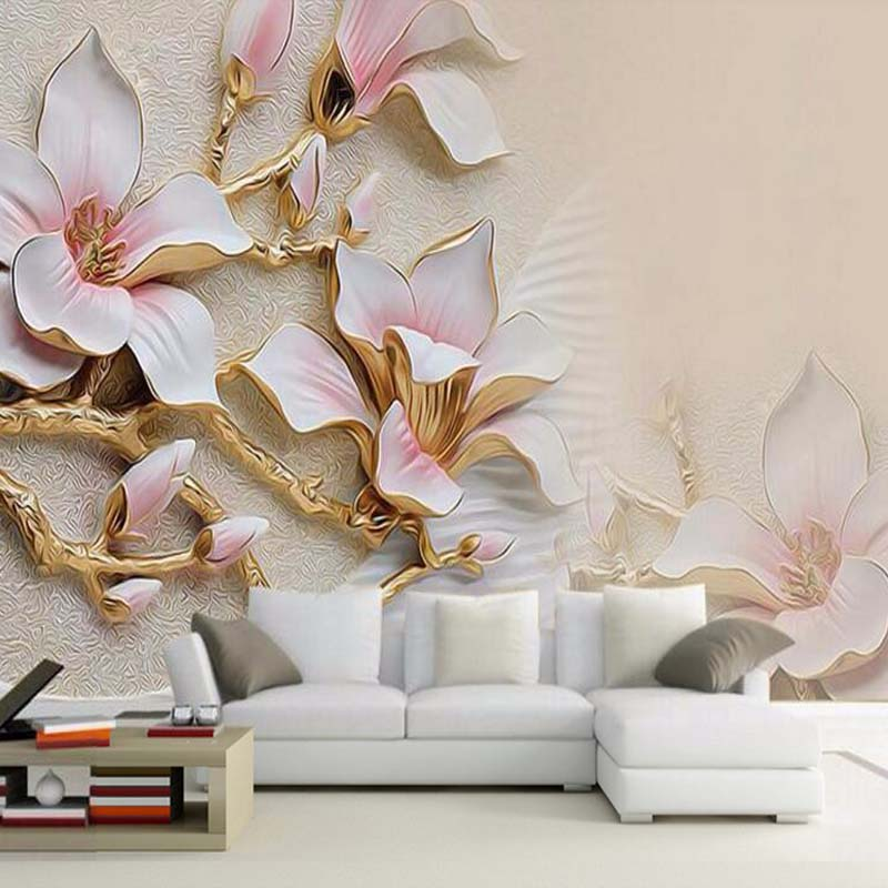 Custom 3D Mural Wallpaper Stereo Relief Magnolia Flower Wall Art Painting Mural Living Room Sofa Bedroom TV Backdrop Wallpaper