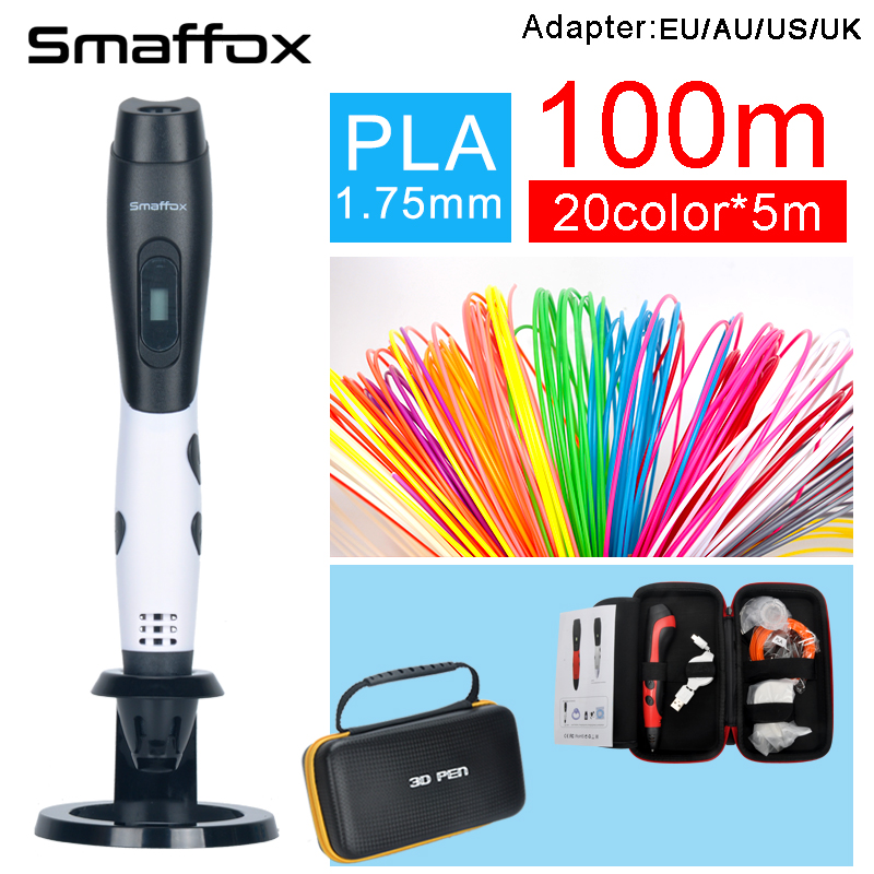 SMAFFOX 3D Pen+100meter PLA Filament Diy Drawing Pen With Lcd Display Printing Pen 3d Printer Pen Adjustable Speed