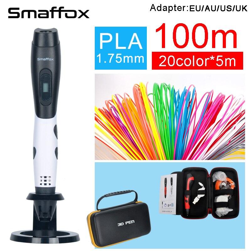 SMAFFOX 3D penna + 100 metro PLA filamento fai da te disegno a penna con display lcd penna stampa 3d penna stampante regolabile velocità