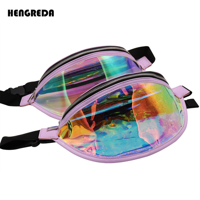 51ada0b746 US $9.99 |Holographic Bum Bag Laser Fanny Pack 2018 Fashion Transparent  Shiny Waist Bags Women Raves Hip Bag Hengreda Hologram PVC Travel -in Waist  ...