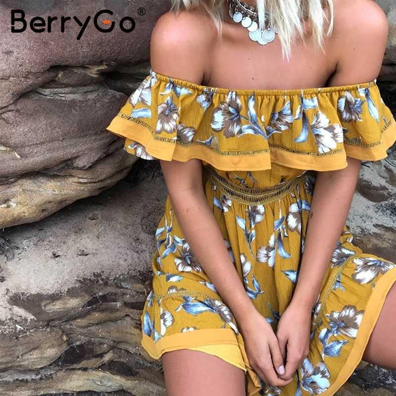 BerryGo épaule dénudée à volants imprimé floral robe d'été femmes sexy évider blanc mini robe de plage élégante robe plissée vestido