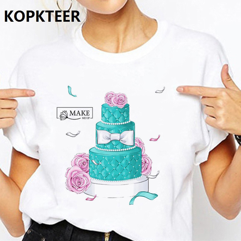 Camisetas Verano Mujer 2019 Women Harajuku T Shirt Aesthetics Flower and Cake Korean Kawaii Tops Streetwear Tee Shirt Femme image