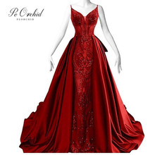 PEORCHID Red Arabic Evening Dress Nouvelle Robe De Soiree 2019 Sequin Pattern Long Party Gown Womens Prom Formal Dresses