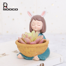 Roogo Resin FlowerPot American Style Decorative Flower Pots Cute Girl Succulent Planter Orchid Pot For Home Garden Balcony Decor