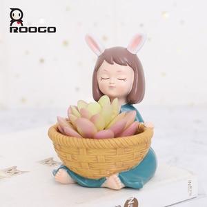 Image 1 - Roogo 樹脂植木鉢アメリカンスタイルの装飾植木鉢かわいい女の子多肉植物プランター蘭ポット家庭菜園バルコニーの装飾