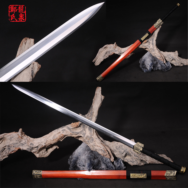 Real Chinese Sword Double Edges Blade Manganese Steel Collectible Red Rose Wood Twin Handed Swords Home
