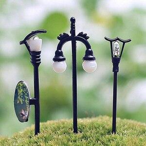 5Pcs Garden Ornament Fairy Dollhouse Decor Miniature Streetlight Craft Plant Pot Fairy Figurines Miniatures Trees Garden Decor