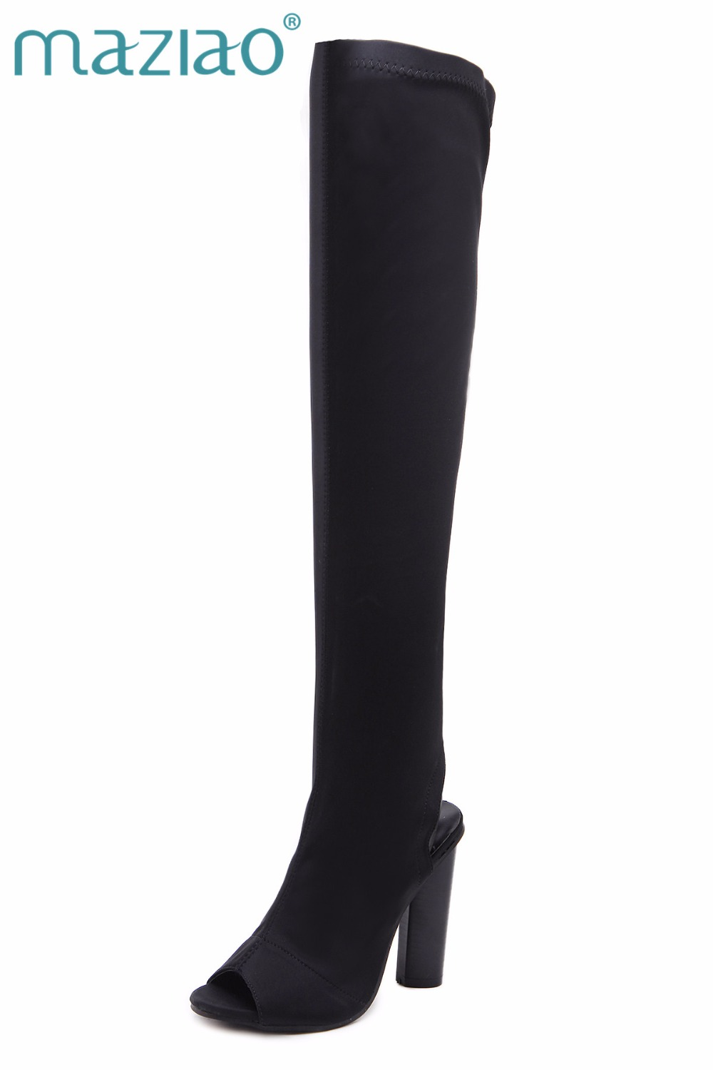 MAZIAO 2017 Autumn women thigh high boots over the knee high heel boots peep toe high heels woman shoes botas mujer femininas women fashion pu leather pointed toe over the knee boots ladies autumn winter high heels boots sexy thigh high boots botas mujer