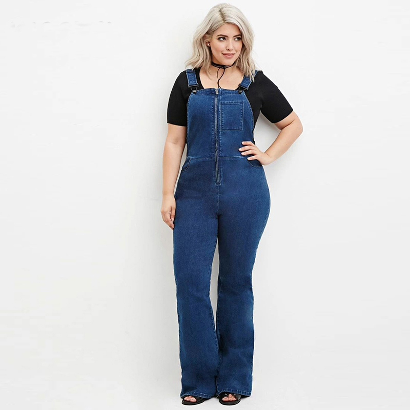 denim jumpsuit Big Sizes 6xl 5xl women rompers 2016 Summer ...