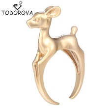 Todorova Cute 3D Bambee Animal Deer Rings for Women Girl Wedding Band Vintage Ring Pet Lover Gift Chic Jewelry Wholesale
