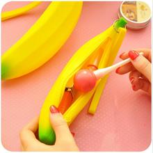 Kawaii Novelty Banana Coin Pencil Pen Case Purse Bag Portable Silicone Case Wallet Pouch Key Ring