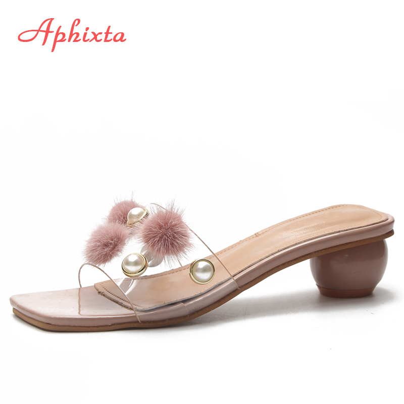 e50133d84049 Aphixta Summer Women Slippers Shoes Women Ladies Outdoor Pearl Real Fur  Shoes Round Heels Slides Fashion Slippers Flip Flops in Pakistan
