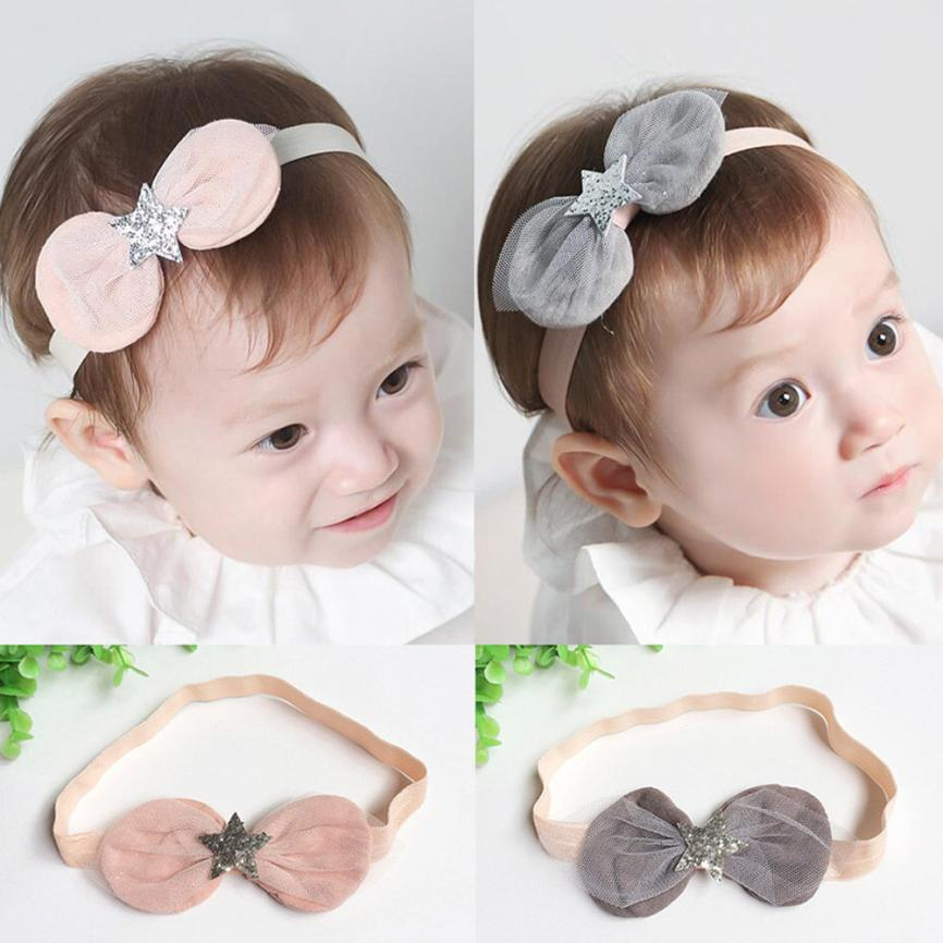 2018 Baby Girls Princess Lace Flowers Diamond Pearl Headbands Elastic Hairbands J24