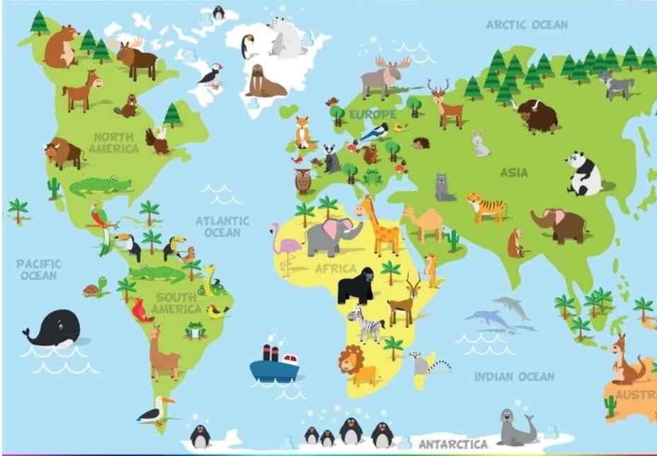 3D 世界地図絵画動物壁紙壁画プリント写真のための KTV 壁の装飾ペイント壁画カスタムサイズ
